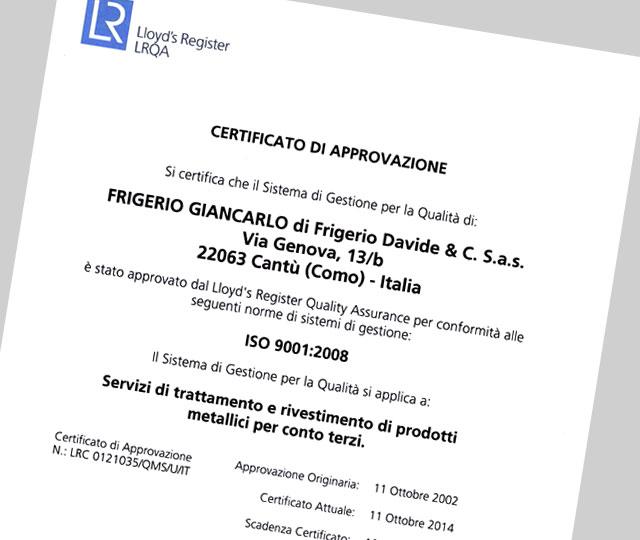 Certificato di qualita Frigerio Giancarlo srl